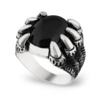 Chavin Siyah Onxy Taşlı Pençe Gümüş Erkek Yüzük cs74