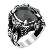 Chavin Diriliş Kartal Pençesi Siyah Taş Gümüş Erkek Yüzük df86