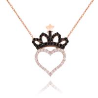 Chavin Kalp ve Kraliçe Tacı Taşlı Gümüş Bayan Kolye cs80