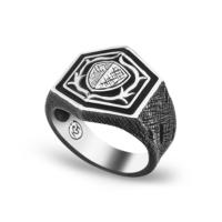 Chavin Kalkan Tasarım Eskitme Gümüş Erkek Yüzük df69