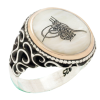 Chavin Sedef Üzeri Osmanlı Tuğrası Gümüş Erkek Yüzük cd32