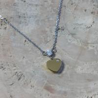 Chavin Tek Taş Kalp Altın Kap. Çelik Kolye au23