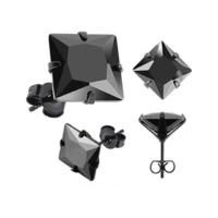 Chavin Unisex Kare Siyah 5mm Taşlı Çelik Küpe cm25