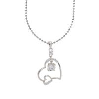 Chavin Zirkon Taşlı Kalp , Gümüş Bayan Kolye ag90