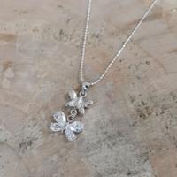 Chavin çift kelebek , zirkon taşlı gümüş kolye n77