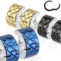 Chavin Unisex Siyah Lazer İşleme Çelik Halka Küpe cm21sr