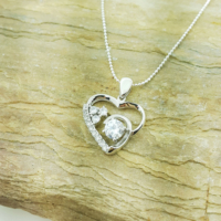 Chavin Zirkon Taşlı Kalp, Gümüş Bayan Kolye ag80