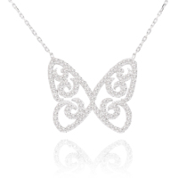 Chavin Beyaz Taşlı Kelebek Gümüş Bayan Kolye cu50