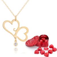 Chavin Aşık Çiftli Kalpler, Bayan Altın Kolye Çikolatalar de49
