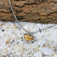 Chavin Pırlanta Taşlı Altın Kaplama Kalp Çelik Kolye au59