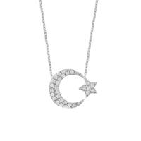 Chavin Komple Taşlı Ayyıldız Gümüş Bayan Kolye dd99