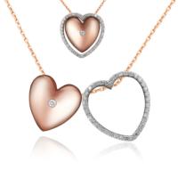 Chavin İç içe Kalpler 0,02 crt. Pırlanta Gümüş Kolye cs13