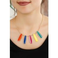 Renkli Aksesuar Tasarımlı Bayan Kolye