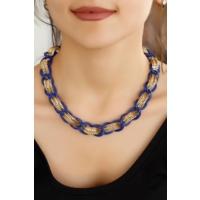 Mavi Ve Sarı Kaplama Zincir Tasarımlı Bayan Kolye