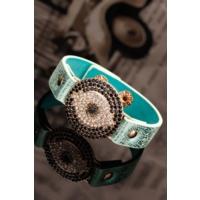 Mint Mavisi Renk Deri Tasarım Taşlı Aksesuar Detaylı Bayan Bileklik