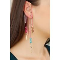 Pembe Renk Ve Sarı Zincir Tasarımlı Kulak Arkası Aparatlı Bayan Sallantı Küpe