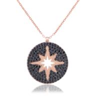 Coşar Silver Kuzey Yıldızlı Madalyon Kolye CZ2642N-1