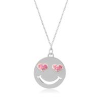 Coşar Silver Kalp Gözlü Emoji Kolye CZ2782N-2