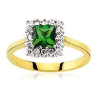 Glorria Altın Yeşil Taşlı Anturaj Yüzük