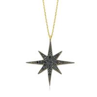 Diva Pırlanta 14 Ayar Altın Kutupyıldızı Siyah Taşlı Kolye