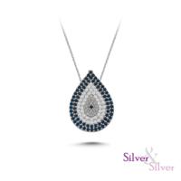 Silver & Silver Damla Nazar Kolye