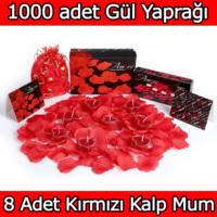 Chavin 1000 Adet Gül Yaprağı,Gül Yaprakları,Kırmızı Kalp Mum yap8