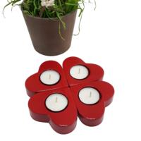 Chavin 4 Adet Kırmızı Kalpli Polyester Tea Light Mumluk de17