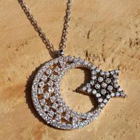 Chavin Komple Taşlı Ayyıldız Gümüş Bayan Kolye dg63