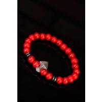 Çınar E-Ticaret Kırmızı Havlit Doğal Taş Tasarımlı Erkek Bileklik