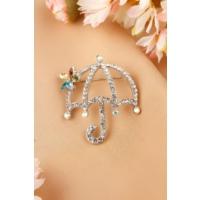 Çınar E-Ticaret Gümüş Şemsiye Tasarımlı Parlak Taşlı Bayan Broş