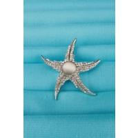 Çınar E-Ticaret Gümüş Parlak Taş Tasarımlı Deniz Yıldızı Bayan Broş