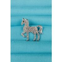 Çınar E-Ticaret Gümüş At Figürlü Parlak Taşlı Bayan Broş