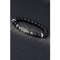 Çınar E-Ticaret Siyah Mat Tasarımlı Metal Detaylı Oniks Doğal Taş Erkek Bileklik Modeli