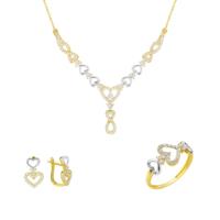 Melis Gold Altın Taşlı Kalpli Set As000040
