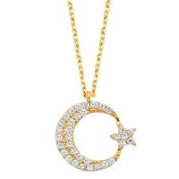 Melis Gold Gümüş Ay Yıldız Kolye Gkly0041