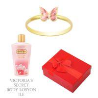 Melis Gold Altın Kelebek Yüzük Hp0153 + Victoria'S Secret Body Losyon