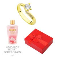 Melis Gold Altın Tektaş Swarovski Yüzük Hp0165 + Victoria'S Secret Body Losyon