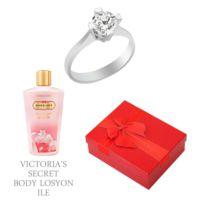 Melis Gold Altın Tektaş Swarovski Yüzük Hp0166 + Victoria'S Secret Body Losyon