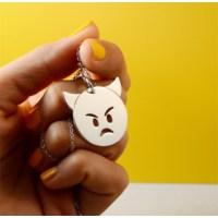 Crystal Baby Özel Tasarım Gümüş Emoji Kızgın Şeytan Kolyesi