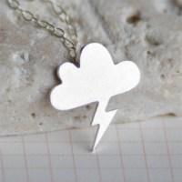 Crystal Baby Gümüş Özel Tasarım Şimşekli Bulut Kolyesi