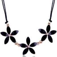 Siyah Kristal Kolye 3 lü Çiçek Kar Tanesi Kolye