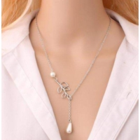 Chokers Romantik Stil Yaprak İnci Model Zincir Kolye