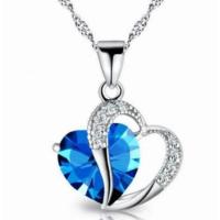 Moda Kalp Şeklinde Zarif Mavi Taşlı Kolye
