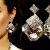 Yeni Sezon Moda Küpe Büyük Kristal Taşlı Lüks Drop Küpe