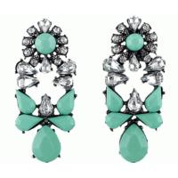 Şık Tasarım Küpe Kristal Taşlı Çiçek Moda Yeşil Küpe