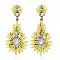 Yeni Moda Kristal Taşlı Saplama Küpe Sarı Küpe