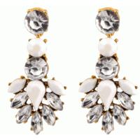 Yeni Moda Retro Takılar Kristal Taşlı Beyaz Küpe
