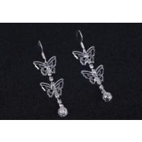 Yeni Model Kristal Taşlı Küpe Kübik Zirkon Çift Kelebek Uzun Küpeler