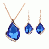 Yeni Model Su Damlası Moda Takı Setleri 2016 Altın Kaplama Kristal Mavi Küpe Kolye Setleri