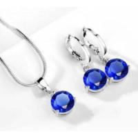 Mavi Taşlı Kolye Yuvarlak Kübik Zirkon Hipoalerjenik Kolye ve Küpe Gümüş Kaplama